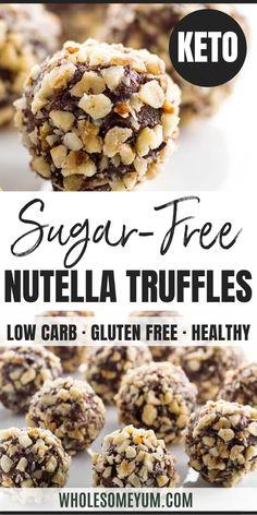 Sugar Free Desserts, Sugar Free Recipes, Low Carb Desserts, Low Carb Recipes, Real Food Recipes, Ham Recipes, Meatloaf Recipes, Sugar Free Truffle Recipe, Healthy Nutella Recipes