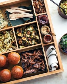 Party Tricks: Use a bento box for serving DIY fixings and condiments.