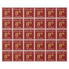 Elegant Red Faux Gold 8th Birthday  Custom Name Wrapping Paper - script gifts template templates diy customize personalize special