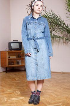 a297dca935 Vintage dress•Blue dress•Denim dress•Midi dress•Long sleeve dress•Buttoned  down dress•Denim outfit•Vintage clothing•Vintage denim•Gift