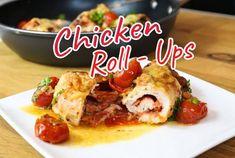 Hähnchenbrust gefüllt - Rezept von Eat Clean - Burcu´s Kitchen Chicken Roll Ups, French Toast, Rolls, Meat, Breakfast, Food, Ketogenic Recipes, Slim, Suppers