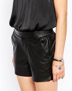 Image 3 ofVila Leather Look Shorts