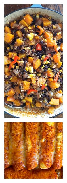 """Easy Butternut Quinoa Vegetarian Enchiladas recipe to serve as enchiladas, or use the mixture for individual """"bowls"""" with favorite toppings. Mexican Food Recipes, Vegetarian Recipes, Cooking Recipes, Healthy Recipes, Vegetarian Enchiladas, Cheese Enchiladas, Best Comfort Food, Tex Mex, Healthy Eating"""