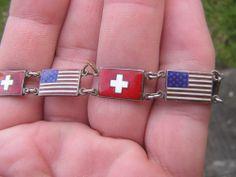 WW 2 WORLD WAR 2 ALLIES ENAMELED STERLING SILVER AMERICAN + SWISS FLAG BRACELET