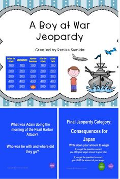 This game is a perfect way to review concepts and ideas from A Boy at War by Harry Mazer. Jeopardy categories are Before the Attack, Characters, Japanese Americans, After the Attack, and Attack Facts. Divide your class into teams or challenge your class to play other classes.