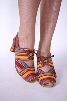 Vintage 1930's -1940's striped peep toe