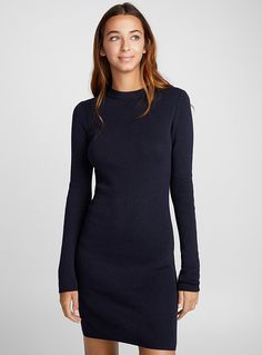 Twik exclusive A wardrobe classic and instant must-have! Fine stretch viscose knit Body-hugging, slim fit The model is wearing size small Length: cm), from the top of the shoulder Character Outfits, Knit Dress, Must Haves, High Neck Dress, Slim, Clothes For Women, Knitting, Gift, Model