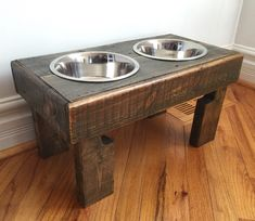 A personal favorite from my Etsy shop https://www.etsy.com/listing/270425970/reclaimed-elevated-pallet-dog-bowl-stand