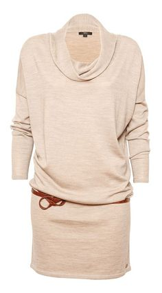 Tan Marled Yarra Glen Merino Wool Sweater Dress