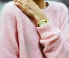Pink cashmere sweater and gold watch. #fashion #style #soft