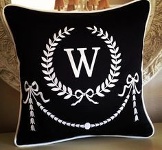 Silk Shantug Embroidered Custom Monogram pillow