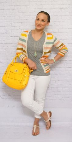 Really loving this color palette for spring! #stripes #grey #yellow #whitejeans