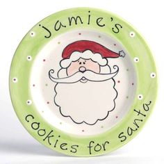 """""""Cookies for Santa"""" Plate. This 9"""" handcrafted Santa face plate is ready to be personalized and waiting for Santa's arrival. A most special gift for the children to enjoy while they are young, and later as a holiday serving plate."""