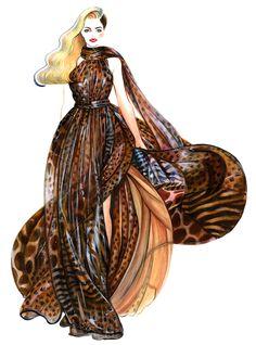 Daphne  Groeneveld for Salvatore Ferragamo-illustration by Sunny Gu #fashion #illustration #fashionillustration