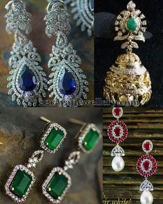 Jewellery Designs: Diamond Earrings with Rubies Sapphires