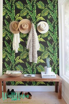 Monstera and Cyca Leaves Wallpaper Removable by WallfloraShop
