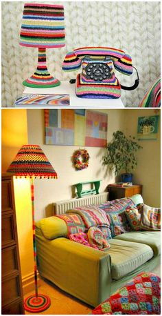 Free Crochet Funky Lamp Yarnbomb Pattern - 12 Free Crochet Lampshade Patterns to Light Up Your Home - DIY & Crafts