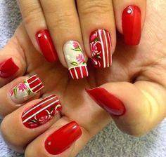 Beautiful nail Arts By Red nail Polish Pretty Nail Art, Beautiful Nail Art, Cool Nail Art, Red Nail Polish, Red Nails, Hair And Nails, Fancy Nails, Cute Nails, Nails Art 2016