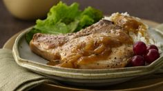 Smothered Pork Chops - Dinner ready in 30 minutes! Pork and Progresso® soup come together in this quick and easy dish that's served over rice. Chile, Pork Ham, Pork Chop Recipes, Chicken Recipes, Pork Meals, Crockpot Meals, Chops Recipe, Pork Dishes, Lunches And Dinners