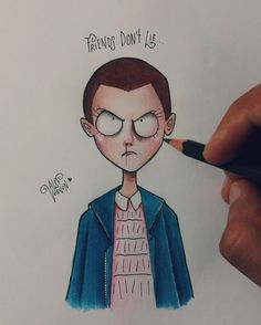Eleven from Stranger Things + Tim Burton style art