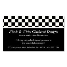 Business Card :: Black and White Checkered Design. Make your own business card with this great design. All you need is to add your info to this template. Click the image to try it out!