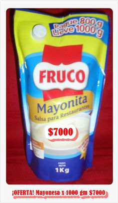 Mayonesa FRUCO x 1000g $7000 Snack Recipes, Snacks, Chips, Food, Shopping, Mayonnaise, Potatoes, Restaurants, Snack Mix Recipes