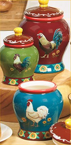 French Country Kitchen rooster motif | Rooster Canisters Storage Containers French Country Farm Kitchen Decor ...