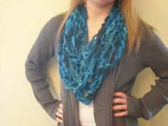 Women's/Teen's Turquoise Scarf/Infinity Scarf by LoopyChicCrochet, $20.00