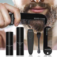 Beard Growth Kit Set Beard Growth Activator Serum Liquid With Roller Comb Grow Thicker Hair, Grow Hair, Vellus Hair, Beard Growth Kit, Trimming Your Beard, Beard Grooming Kits, Increase Hair Growth, Hair Regrowth, Beard Care