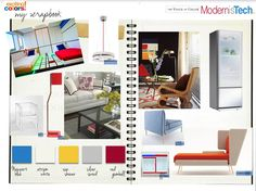 Scrapbook page of design cues for the Modernist Tech Trend.
