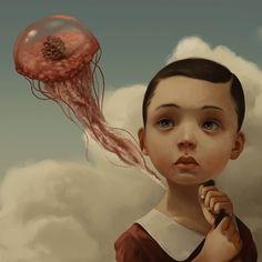 Hell is Other People — Roby Dwi Antono Dibujos Dark, Arte Lowbrow, Surealism Art, Surreal Artwork, Bizarre Art, Surrealism Painting, Portrait Illustration, Eye Art, Fairy Art