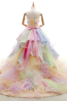 Queenly A-Line Sweetheart Natural Chapel Train Tulle and Satin Multicolor Sleeveless Lace Up-Corset Wedding Dress with Flower Ruffles and Sequins LD4118#cocomeldoy#weddingdresses#bridalgowns#