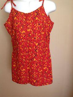 Womens 100 Cotton Spaghetti Red Shirt Blouse Tunic Top by Artsiart, $18.99