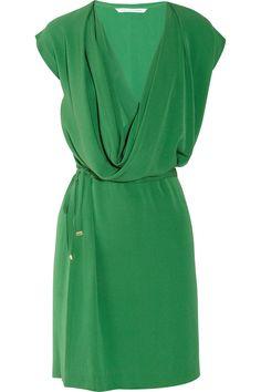 Diane von Furstenberg|New Reara draped silk-crepe dress|NET-A-PORTER.COM