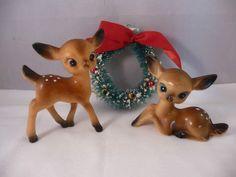 2 Adorable Vintage Christmas Deer Reindeer Celluloid Type Plastic Lot 1 | eBay