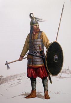 """Kriger tegnet ud fra fund fra Birka - grave og borgplads kombineret. Lamelbrynjens design må være et kvalificeret gæt. Eneste rigtige fejl er umiddelbart hjelmens hestehale.  Efter """"Vikinger i krig""""."""