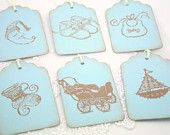 Baby Shower Gift Tags Favor Tags Baby Boy Vintage Stamped