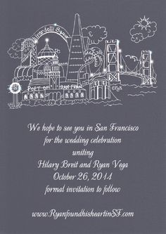 (CLICK ON THE GIF ARROW TO SEE GLITTER ANIMATION) The gray background with white lettering makes for a modern industrial feel, perfect for those planning a #SanFranciscoevent. This heavy card stock can be used for invitations for any party. You can order a minimum is 12. Glitter can be added to the night sky to make the stars sparkle. It's awesome! Order these on-line after Jan 2014 at www.FavorsYouKeep.com. Until then, you can call in your order to 512.323.0600 #SaveTheDateSanFrancisco