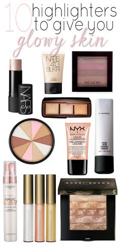 Need some help feeling glowy? Here are some amazing highlighters! from high end luxury products to drugstore to add to your makeup kit or collection. Kiss Makeup, Love Makeup, Makeup Inspo, Makeup Inspiration, Hair Makeup, All Things Beauty, Beauty Make Up, Beauty Secrets, Beauty Hacks