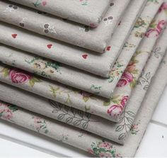 7pcs rustic print rose love cherry linen fabric square bundle rough zakka table cloth Diy handmade 50cm* 50cm/piece B2016999-inFabric from I...