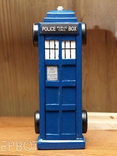 TARDIS pine wood derby car
