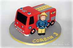 1) Classic fire-engine and Sam cake, engine made of cake, Sam of sugarpaste or Rice Krispie Treats