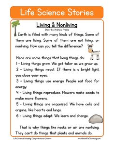 Science Discover life science stories comprehension living and nonliving First Grade Reading Comprehension Reading Comprehension Worksheets Phonics Reading Reading Passages Teaching Reading Science Worksheets Science Lessons Life Science Texts First Grade Reading Comprehension, Phonics Reading, Reading Comprehension Worksheets, Reading Passages, Teaching Reading, Passage Writing, Comprehension Strategies, Kindergarten Writing, Reading Strategies