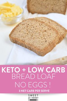 KETO BREAD LOAF NO EGGS Low Carb with coconut flour, almond meal, psyllium husk and flaxmeal. A delicious easy keto sandwich bread with only g net carb per slice to fix your sandwich craving with no guilt! Coconut Flour Bread, Almond Bread, Almond Recipes, Low Carb Recipes, Healthy Recipes, Bread Recipes, Best Keto Bread, Low Carb Bread, Bread Recipe Without Eggs