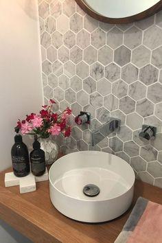 58 new ideas for bathroom grey walls honeycomb tile - bathroom Bathroom Grey, Laundry In Bathroom, Bathroom Layout, Bathroom Interior, Small Bathroom, Bathroom Ideas, Bathroom Marble, Budget Bathroom, Downstairs Bathroom
