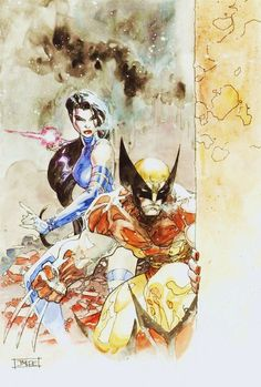 Awesome Wolverine & Psylocke watercolor art by Jim Lee! (Marvel comics)