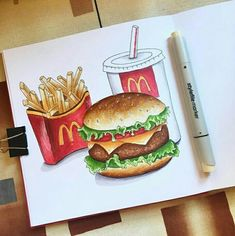 Pin by anths williams on art in 2019 Copic Marker Drawings, Pencil Art Drawings, Doodle Drawings, Art Drawings Sketches, Cute Food Drawings, Colorful Drawings, Food Painting, Watercolor Painting, Food Sketch