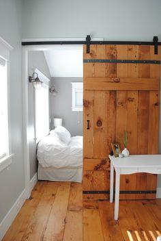 Backyard Cottage rustic bedroom Love the colors and the barn door Barn Door Designs, Backyard Cottage, Garden Cottage, Cozy Cottage, The Doors, Sliding Doors, Entry Doors, Sliding Wall, Door Hinges
