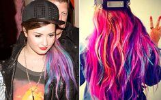Demi Lovato aparece com o cabelo todo colorido. Será que ela pintou de novo? - Você - CAPRICHO