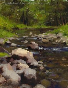 Merced River, Yosemite - Oil by Daniel J. Keys, 10 x 8. Love the rocks.